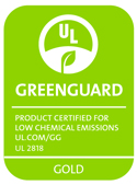 Greenguard product Gold certified for low chemical emissions logo